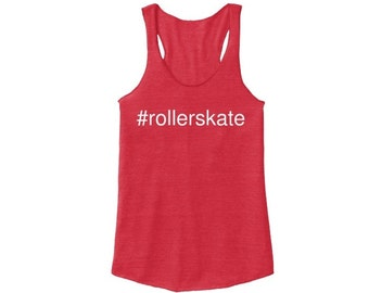 Hashtag #rollerskate Racerback, Red