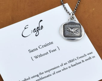 Fearless Eagle Necklace - Eagle wax seal necklace from Antique French Wax Seal - Fearless Necklace - 239