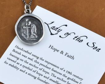 Hope Wax Seal Necklace - Lady of the Sea - Hope and Faith Wax Seal Pendant - 249
