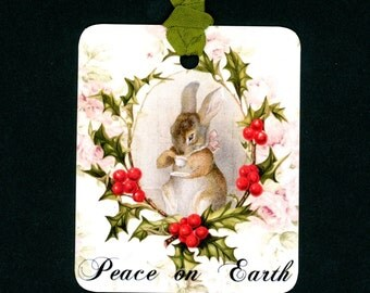 Christmas Gift Tags , Rabbit , Holly , Peace on Earth , Cottage Chic , Christmas Tags , Roses and Holly , Holly and Rabbit