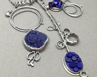 large lapis blue necklace sculpture sculptural wearable art modern collage oxidized silver multi pendant