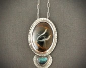 Septarian geode and rose cut labradorite statement necklace