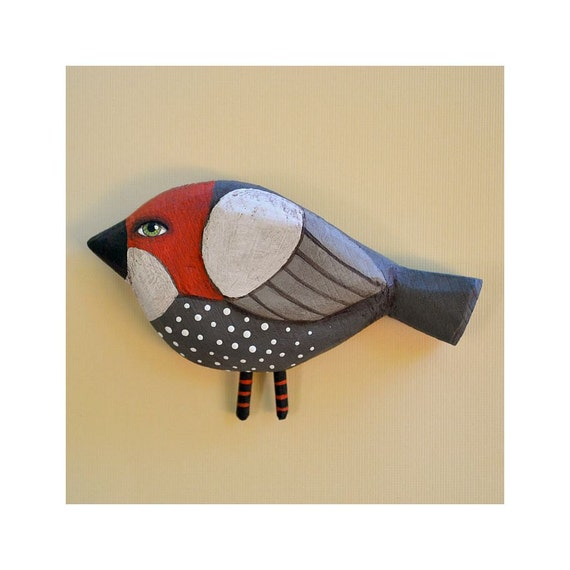 Little Bird Hand-Painted Wooden Sculpture Original Contemporary Folk Art OOAK