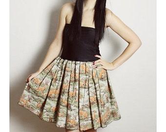 DEER Dress, Doe Dress, Forest Dress, Nature Dress, Handmade Dress, Bow Dress, Vintage Dress