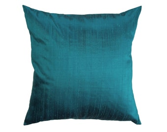 Turquoise Pillow Cover -- Silk Turquoise Throw Pillow Cover -- Aquamarine Silk Cushion Cover -- 18 x 18