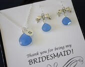Bridesmaid Necklace and Earring Set Blue, Tie the Knot Earrings, Bridesmaid Gift, Will you be my bridesmaid, Sterling Silver, Monogram
