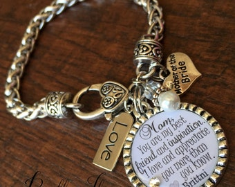 Mother of the BRIDE bracelet, you are my best friend and inspiration, wedding keepsake, CUSTOM gift, today a bride, I'll love you forever