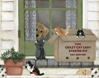 """Crazy Cat Lady Starter Kit print or plaque! approximately 16"""" x 20""""  Cat signs, pets, great gift for cal lovers!  Wood sign, art by Laurie"""