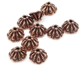 Antique Copper Bead Caps Copper Beadcaps TierraCast 8mm TIFFANY Caps Jewelry Beads Jewelry Supplies Copper Beads Tierra Cast Pewter  (PC49)