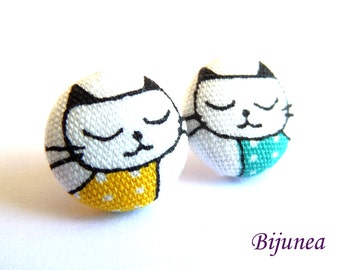 Blue cat stud earrings - Blue cat earrings - Cat studs - Blue cat jewelry - Blue cat posts earrings sf1270