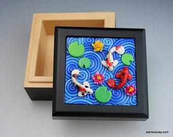 Koi Pond Mini Box in Polymer Clay Filigree