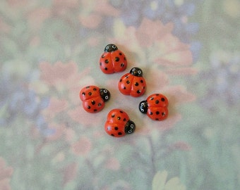 Lady Bug Buttons set of 5