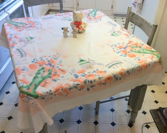 Vintage Tablecloth Asian Lady in the Garden Poppies & Pagodas