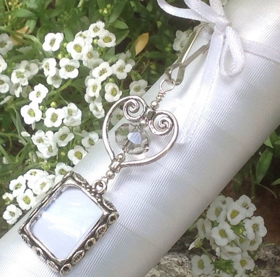 wedding bouquet photo charm memorial keepsake with heart and grey
