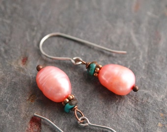 Turquoise and Pink Pearl Earrings