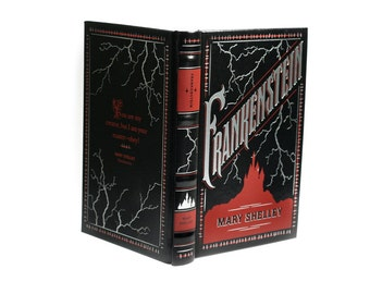Frankenstein Hollow Book Box Hidden Safe Money Safe Jewelry Box Silver Black Red Gothic Loose Pages and  Magnet Closure - READY To SHIP