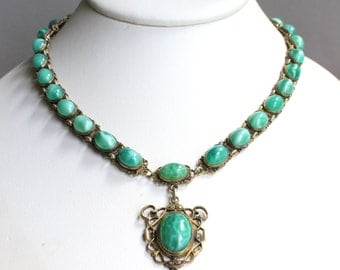 Vintage Art Deco style pendant necklace with marbled Peking green glass faux jade cabs, filigree