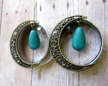 Pair of Antique Brass Swirl Moon Tunnels w/ Turquoise Beads - Girly Plugs - Feminine Gauges - Handmade - 26mm 28mm 30mm 32mm - Boho Bohemian