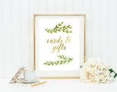 cards and gifts wedding sign printable, instant download, card table sign, gift table sign, DIY wedding, gold, greenery, leaf, wedding decor