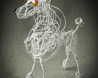 Standard White Poodle, Wire Dog Sculpture, Customized Pet Art Gift, Caniche, Chien
