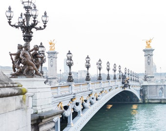 Paris Photography - Foggy Morning, Pont Alexandre III, River Seine, Paris Fine Art Photograph, Large Wall Art, French Home Decor,