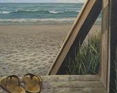 Beach Decor Wall Hanging Original Art Print from Original Painting Boardwalk Painting Beach View Painting