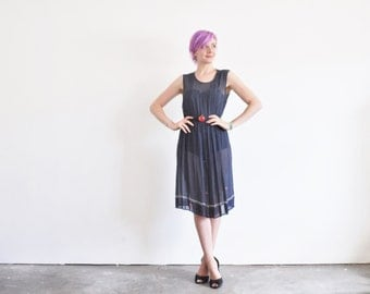 r e s e r v e d sheer apple print polka dot dress . navy blue fruit pattern .medium .sale