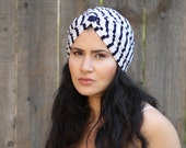 Bohemian Headwrap, Fashion Turban, Women Hat , Turban Head Wrap, Hair Turban , Navy and White Nautical Hat