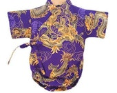 Baby Bodysuit Kimono - Purple or Black Golden Dragon - cute japanese baby clothing new baby asian