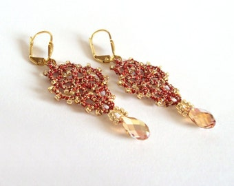 Gold , Red Metallic Dangle Earrings , Beaded Tatted Lace - Gold Earrings - Party Prom Jewelry - Evening Wear Jewellery - Mina