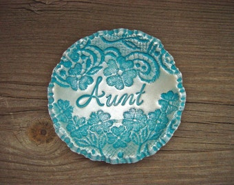Gift for Aunt Personalized Vintage Floral Lace Ring Bowl SMALL jewelry holder Dish For Her, Vintage Style Turquoise Blue & Pearl Finish