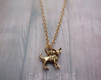 Chihuahua dog charm, gold necklace