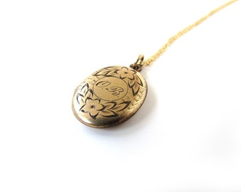 Antique Oval Locket With Monogram OB c.1900
