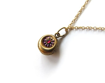 Antique Victorian Charm With Enamel Flower And Red Stone c.1880s