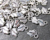 Baby Feet Charms 100 Silver 11mm Baby Feet Charms Drops New Old Stock One Hundred 11mm x 9mm Feet Charms Baby Shower Jewelry Supplies (R29)