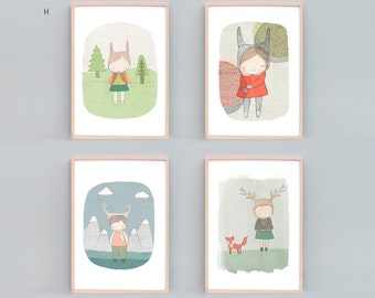 Nursery Print Set of 4, Nursery Art, Girls Room Art, Girl Nursery Decor, Animal Nursery Wall Art, Rabbits, Deers and Foxes, Red, Green, Blue
