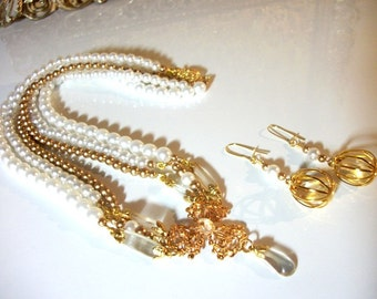 Sunstone Charm Gold Pearl Multi Strand Formal Wedding Bridal Bead Necklace & Earrings in a LOVELY Jewelry Set for Women