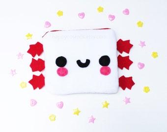 Axolotl Zipper Pouch - Pencil Pouch, Pencil Case, School Supplies, Make Up Bag, 3DS Case, Phone Case, Coin Purse