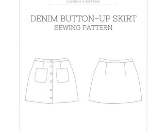 Denim Button Up Skirt PDF Sewing Pattern Sizes 00-20