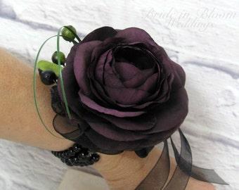Plum ranunculus wrist corsage Wedding corsage bridesmaids mother of the bride
