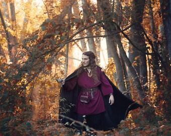 Men woolen medieval fantasy coat ranger tunic in red burgundy costume jerkin handfasting