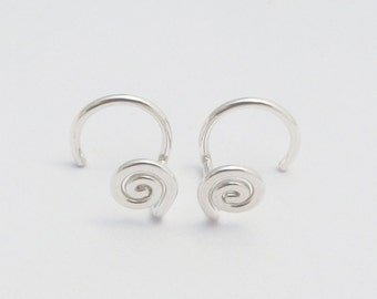 Small Spiral Stud Earrings / Backless Sterling Silver Stud Earrings / One Piece Post Earrings / Argentium Earrings / Eco-Friendly / 2108