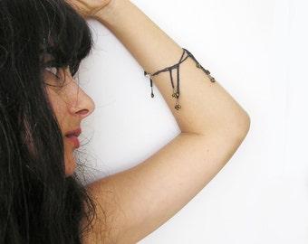 SEEDS / crochet bracelet / bronze glass beads / oxidized silver bracelet / contemporary / asymmetric / handmade