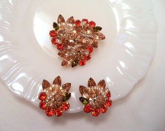 Eisenberg Ice Brooch and Earrings Set Citrine, Olivine, Orange & Clear Rhinestones, Signed