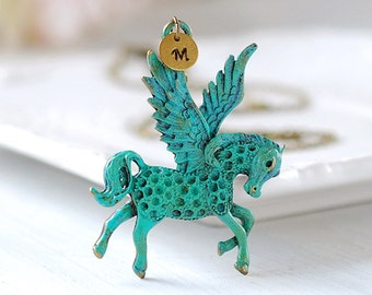 Winged Horse Pendant Necklace Personalized Necklace Verdigris Patina Blue Stallion Pegasus Initial Necklace Greek Mythology Horse Jewelry