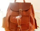 WoozWass Vintage 1970s Greek extra Large tan leather rucksack/ backpack