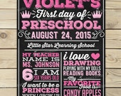 Girl 1st Day of School Sign - Pink First Day of School Chalkboard Sign - Back to School Chalkboard - Princess 1st Day of Preschool Sign