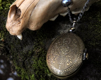 Clearance Item 30% Off Steampunk Antique Brass Blue Pearl Pocket Watch Necklace Lady Adventura 23 inches