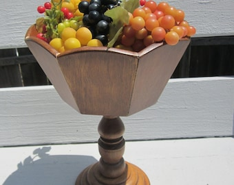Large Wooden Pedestal Bowl Filled with Colorful Grapes - Traditional Style Wood Centerpiece