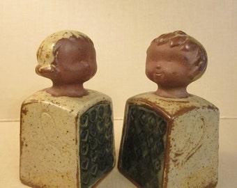 Salt and Pepper Shaker Couple - Mid Century Glazed Art Pottery in Lisa Larson Style